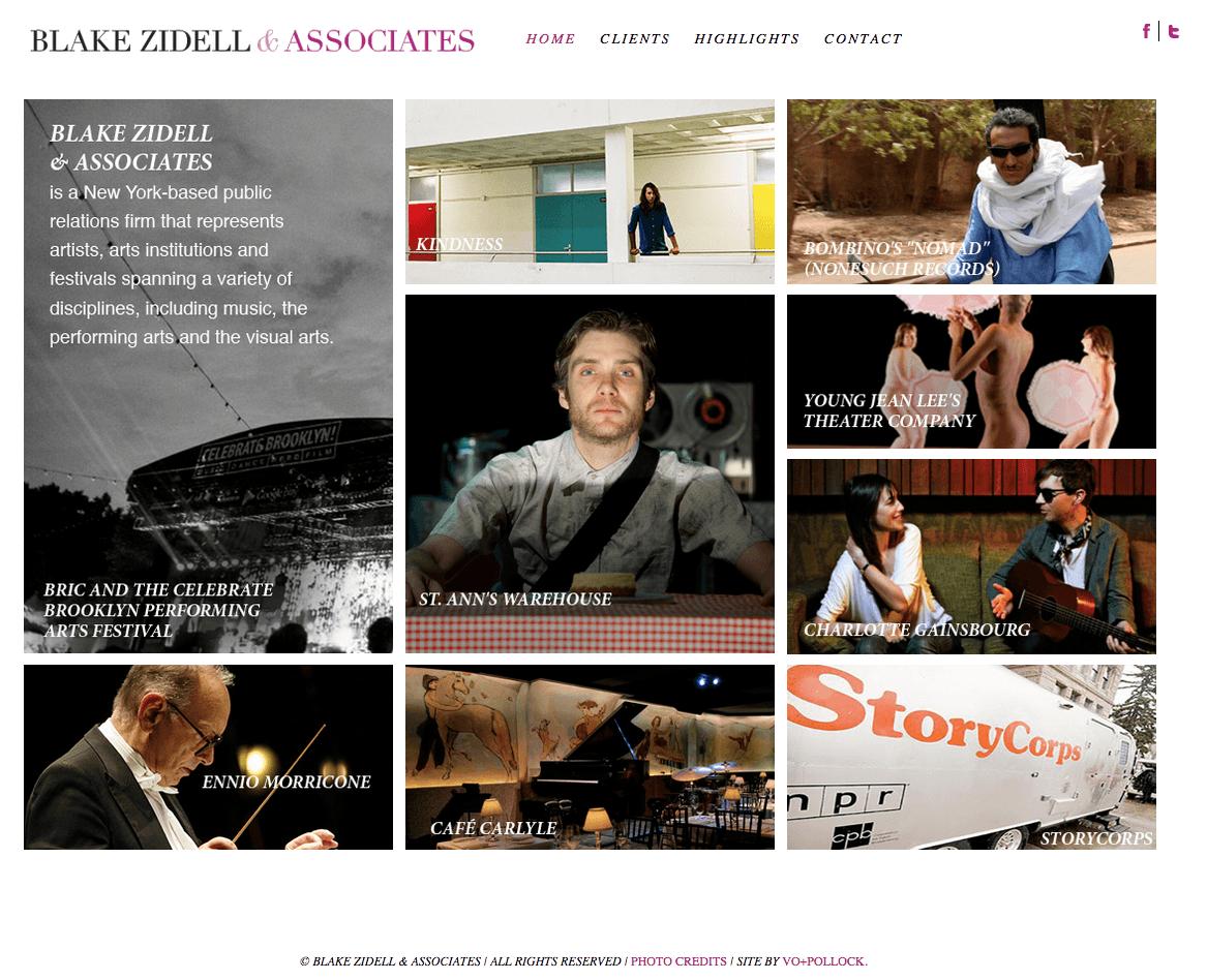 Blake Zidell & Associates communicates visually on the website's homepage.